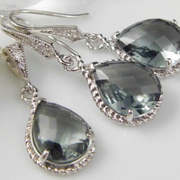 Gray Bridesmaids Jewelry, Wedding Jewelry, Gray Crystal Necklace, Gray Crystal Earrings- Gift