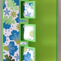 Lime Green and Blue blank greeting cards - set of four all occasion cards with Matching Envelopes
