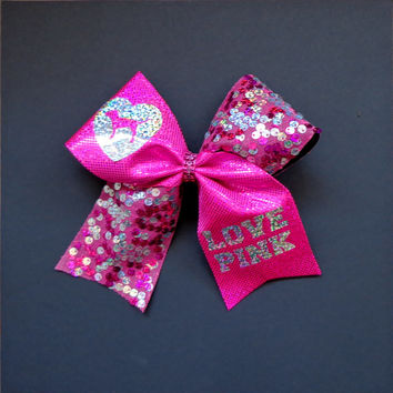 Love Pink Cheer Bow Inspired By Victoria S. Bright Pink with reversible sequins
