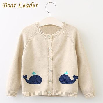 Girls Sweaters New Girls Clothing Long Sleeve Outerwear Open Stitch Whale Print Kids Knitwear