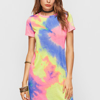 Multicolor Pastel Tie Dye Print Short Tee Dress