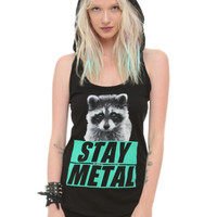 Miss May I Stay Metal Raccoon Hooded Girls Tank Top 2XL