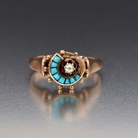 Outstanding 14K Gold Pearl and Turquoise Ring C 1890s
