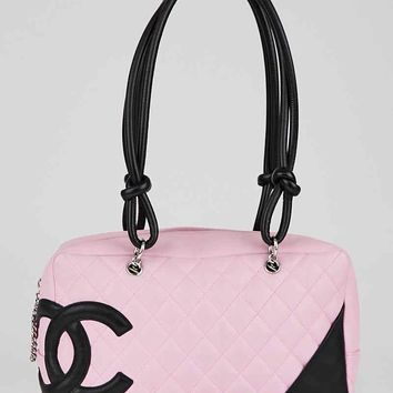 Chanel Pink/Black Quilted Leather Cambon Ligne Bowler Tote Bag