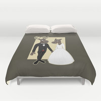 Moose Wedding Cartoon Duvet Cover by MaxiHarmony