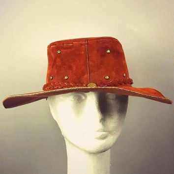 ViNtAgE Suede Leather Hat Folk Fest cap Festival Boho Gypsy Hippie Western Cowboy Western Coachella Mexico free people Mens Womans