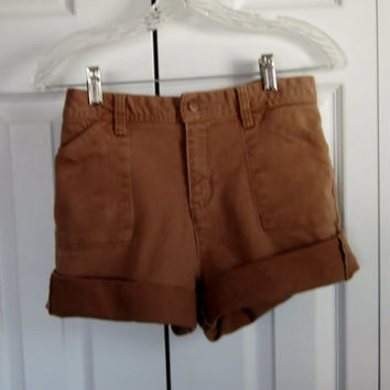 Vintage Brown Cut Off Denim Shorts High Waisted Shorts Stretch Denim Light Brown Jean Shorts Bill Blass Cutoffs Womens 6 Waist 31