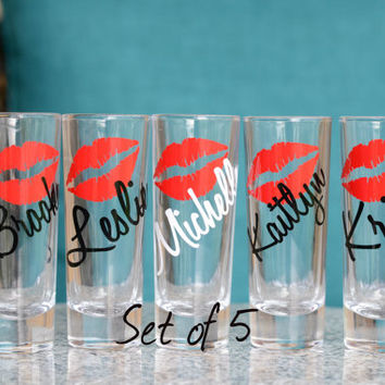 5- Bachelorette - Bridesmaids personalized shot glasses with lips and name - set of 5  - 2 oz cordial glass