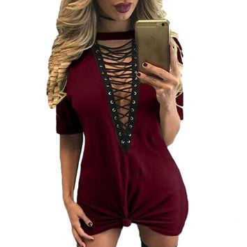 Summer Women T-Sexy Club T Shirt Bandage Dresses