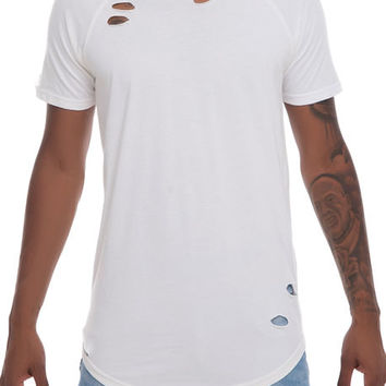 The Elongated Distressed Tee in Eggshell
