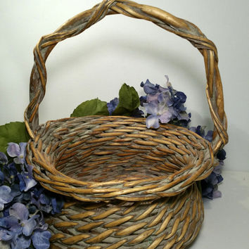 Vintage Woven Basket with Handle Cottage Farmhouse Country French Rustic Wicker Basket Primitive Vine Basket