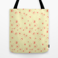 Red Twirls Tote Bag by RunnyCustard Illustration