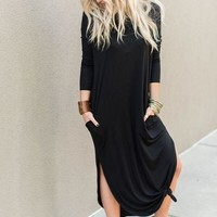 Must Have Long-Sleeved Maxi Dress - Black