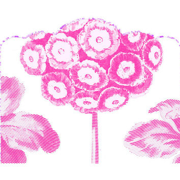 Wall Decal Headboard - FLOWER POPS! - Pink - Scallop Top - TWIN - Lite version
