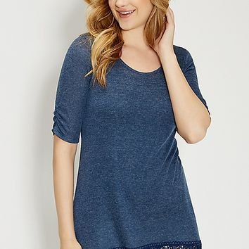 knit tunic tee with scalloped lace hem | maurices
