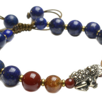 Elegant Sterling silver fortune Frog Lapis Lazuli and Rutilated Quartz Amulet Bracelet