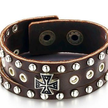 Brown Genuine Leather Wrap Bracelets w/ Celtic, Medieval Cross Accent