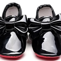 2016 New arrivel Patent leather Red bottom sole Baby Moccasins baby boys girls Shoes with bow-tie Infant toddler first walkers