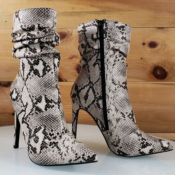 Sevina Snake Print Scrunch Top High Heel Ankle Boot
