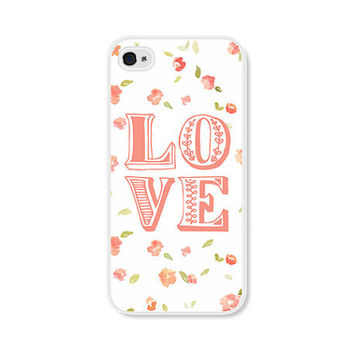 Peach Floral iPhone Case - iPhone 4 Case - iPhone 4 Cover - iPhone 4 Skin - Coral Pink Pastel Typography Love Flowers iPhone 4s Case