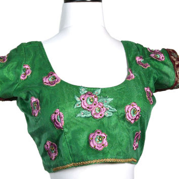 Bright Green Embroidered Crop Top