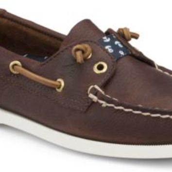 Sperry Top-Sider Lexington Slip-On Boat Shoe TanBear/NavyAnchors, Size 6M  Women's Shoes