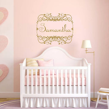 Wall Decal Name Girls Vinyl Sticker Personalized Custom Decals Art Mural Monogram Wall Decals Nursery Baby Frame Princess Name Girls AN350