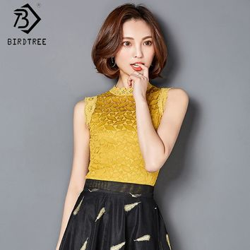 Women Pullovers Black White Plue Size S-3XL New Women Crochet Lace Sleeveless Tank Tops Causal Lace Tops Women Clothings T81489A