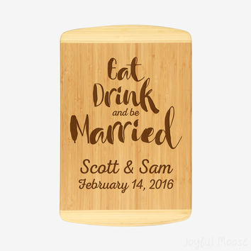 "Wedding gifts for bride and groom - Personalized 12"" x 18"" Bamboo Cutting Board"