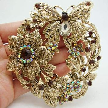 "Free Shipping 3.85"" Vintage Style Butterfly Flower Brooch Pin Pendant Brown Austrian Crystal Rhinestone"
