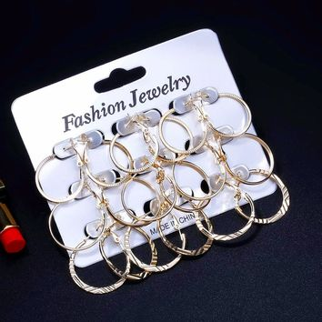 RAVIMOUR Punk 9 Pair/Set Hoop Earrings Set for Women Gold Silver Color Big Round Ear Jewelry Hanging Earing Vintage Accessories