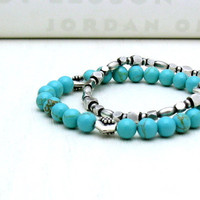 Turquoise Sterling Silver Beaded Bracelet by cooljewelrydesign