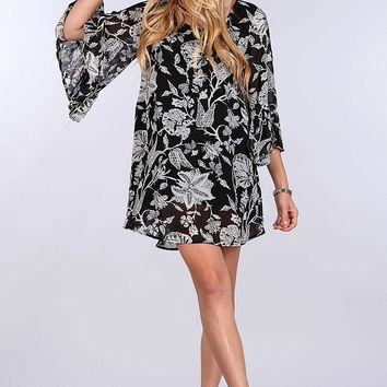 BLU PEPPER Black Floral Tunic Dress