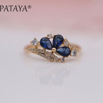 PATAYA New Arrivals 585 Rose Gold Water Drop Rings Women Fashion Dark Blue Natural Zircon Ring Wedding Party Jewelry Accessorie