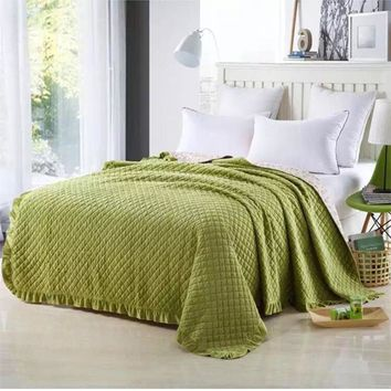 Autumn Embossed blanket 200*230cm Crystal velvet quilted bed cover soft bedspread cobertor summer comforter bedding home textile