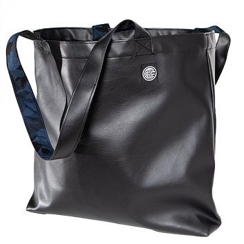 Black 'Faux' Leather & Blue Camouflage Reversible Tote Bag