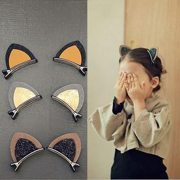 Sale 6 Colors 1PCS/2PCS Girls Hair Clip Lovely Cat Ear Hairpin Cute Headwear Hair Accessories Children