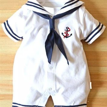 Summer newborn baby boy clothes white navy sailor uniforms baby rompers short sleeve one-pieces jumpsuit baby girl clothing