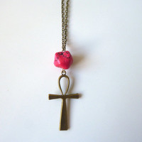 SALE || Ankh Necklace || Egyptian Necklace || Ankh || Turquoise || Gemstone || Cross || Pink || Stone || Modern || Minimal || Fuchsia