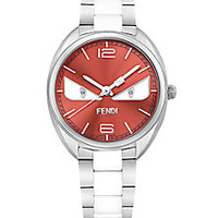 Fendi - Momento Fendi Bug Diamond, Stainless Steel & Ceramic Bracelet Watch - Saks Fifth Avenue Mobile