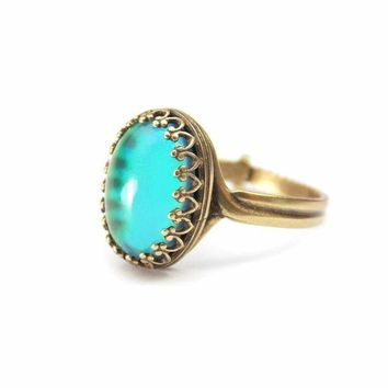 Sock it to Me Mood Ring Antique Brass with Color Chart