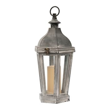 Gray with White Wash Lantern