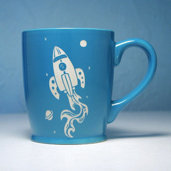 Rocket Ship Mug - Sky Blue - large ceramic space coffee cup