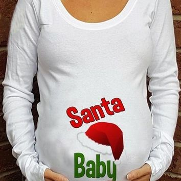 Red Santa Baby Print Christmas Long Sleeve Round Neck Maternity Casual T-Shirt