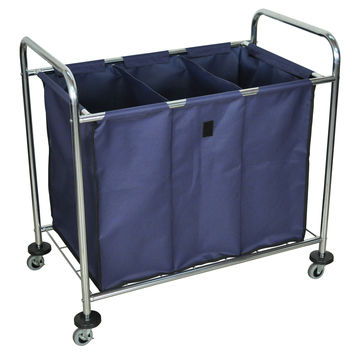 Utility Cart:  Luxor Industrial Laundry Cart W/ Steel Frame & Navy Canvas Bag W/ Dividers