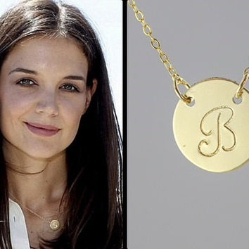 Personalized necklace. one initial Monogramming gold filled necklace. Celebrity Inspired necklace. friendship, couple necklace