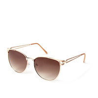 FOREVER 21 Cutout D-Frame Sunglasses Gold/Nude One