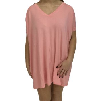 Peach Piko Tunic V-Neck Short Sleeve Top