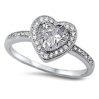 A Perfect 1CT Heart Halo Russian Lab Diamond Ring