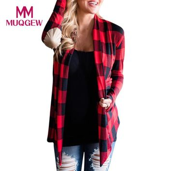 MUQGEW Hot Product Women Grid Plaid Open Cape Casual Coat Loose Blouse kimono Jacket Cardigan winter coat vest women manteau